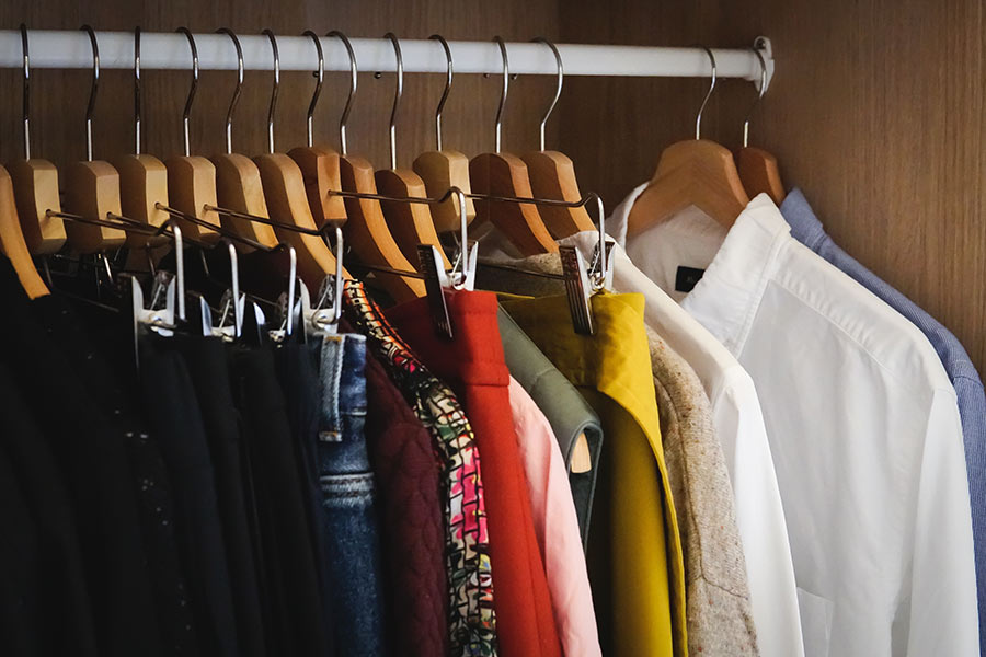 Lot Different Clothes Hanging Wardrobe