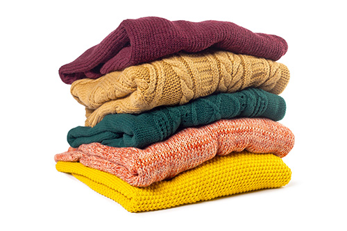 Stack Various Sweaters Isolated White Min